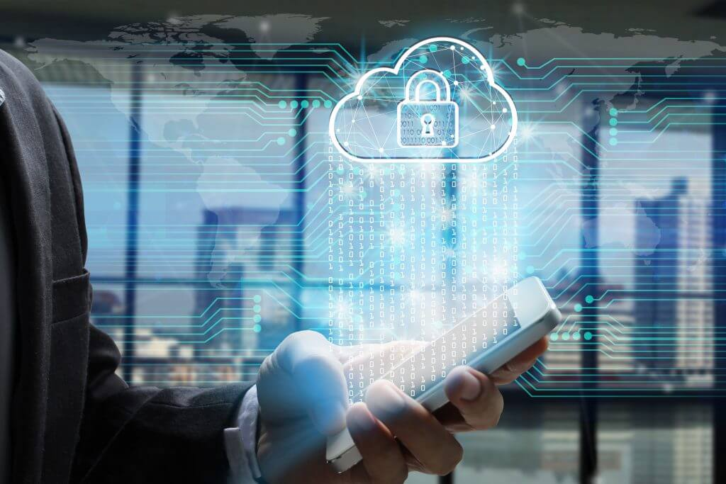Businessman use Laptop and smartphone with padlock and cloud technology background, Cyber Security Data Protection Business Technology Privacy concept, Internet Concept of global business.