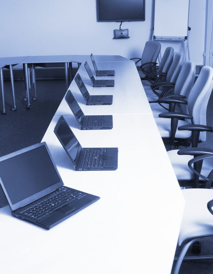 Training room with communications technology in education establishment